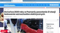 Do końca 2020 roku ma apowstać w Poznaniu 21 stacji ładowania samochodów elektrycznych